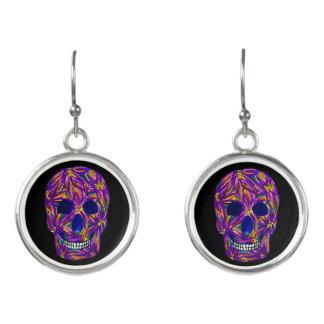 Cool Black Sugar Skull Drop Earrings