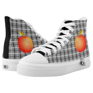 Cool Black Tartan Cartoon Apple Red Bright Fruit High Tops