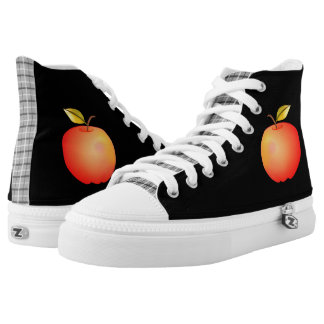 Cool Black Tartan Cartoon Apple Red Simple Fruit High Tops