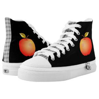 Cool Black Tartan Cartoon Apple Red Simple Fruit Printed Shoes