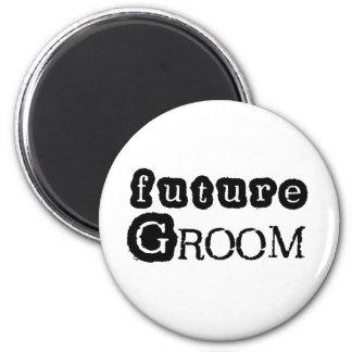Cool Black Text Future Groom Magnet