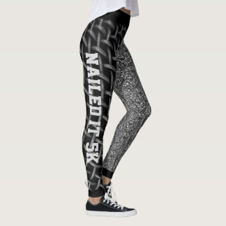 Cool Black & White Abstract Nailed It 5K Leggings