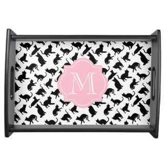 Cool Black & White Cats Pink Monogram Serving Tray