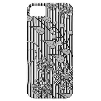Cool Black & White floral / stripes iPhone 5 case
