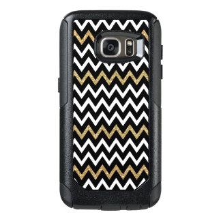 Cool Black White & Gold Glitter Chevron Pattern OtterBox Samsung Galaxy S7 Case