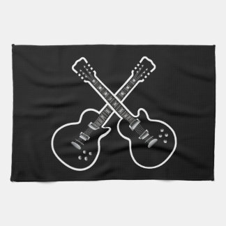 Cool Black & White Guitars Kitchen Towels