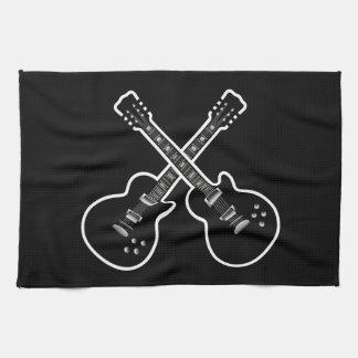 Cool Black & White Guitars Tea Towel