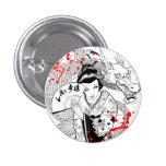 Cool blood splatter geisha with fan dragon tattoo 3 cm round badge