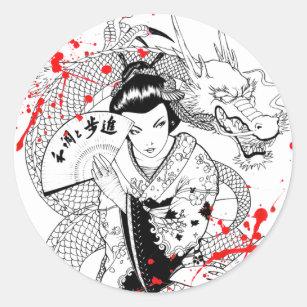 Cool blood splatter geisha with fan dragon tattoo classic round sticker