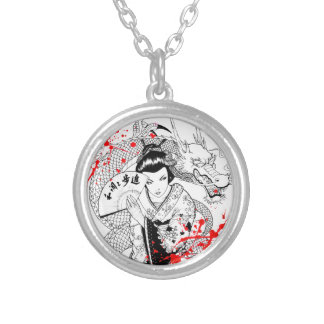 Cool blood splatter geisha with fan dragon tattoo silver plated necklace
