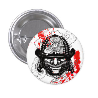 Cool blood splatter samurai demon mask helm tattoo 3 cm round badge