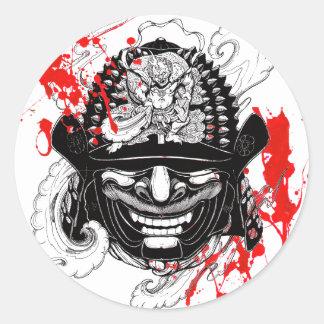 Cool blood splatter samurai demon mask helm tattoo round sticker
