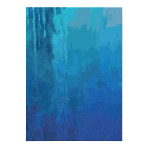 Cool Blue Abstract Dripping Paint Grunge Design Custom Invites