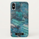 Cool Blue Abstract Marble Pattern with Name iPhone X Case