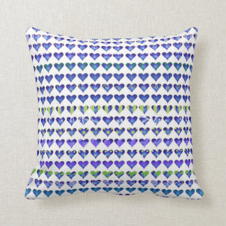 Cool Blue and Green Artsy Hearts Pillows