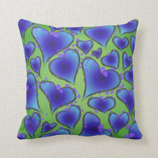 Cool Blue and Green Artsy Hearts Throw Pillows