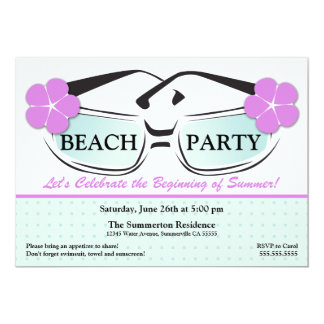 Cool Blue and Purple Summer Sunglasses Invitation
