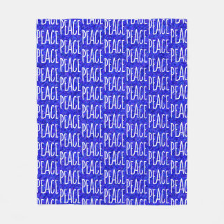 Cool Blue and White PEACE Word Design Fleece Blanket