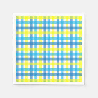 Cool blue and yellow stripes party disposable serviette