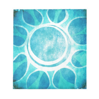 """Cool Blue"" Batik Flower Illustration Notepad"