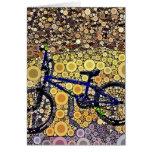 Cool Blue Bike Concentric Circle Mosaic Pattern Greeting Cards