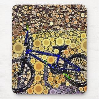 Cool Blue Bike Concentric Circle Mosaic Pattern Mouse Mat