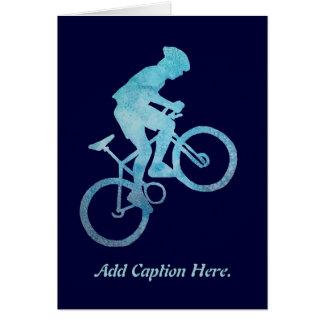 Cool Blue Biker Greeting Card