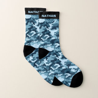 Cool Blue Camouflage Personalized Name Socks