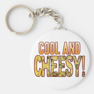Cool Blue Cheesy Basic Round Button Key Ring