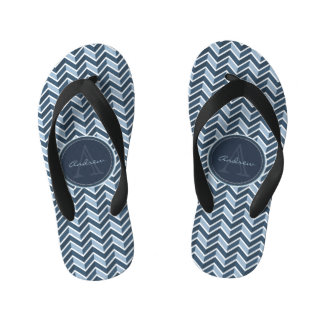 Cool Blue Chevron Pattern Monogram Flip Flops
