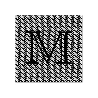 Cool Blue Chevron Pattern Monogram Rubber Stamp