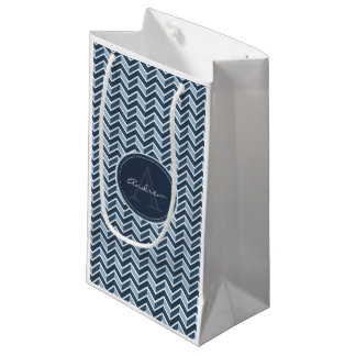 Cool Blue Chevron Pattern Monogram Small Gift Bag