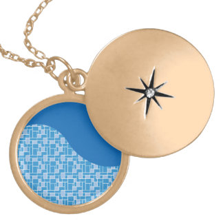 Cool Blue Colorful Tile Wave Pattern Gifts Necklaces