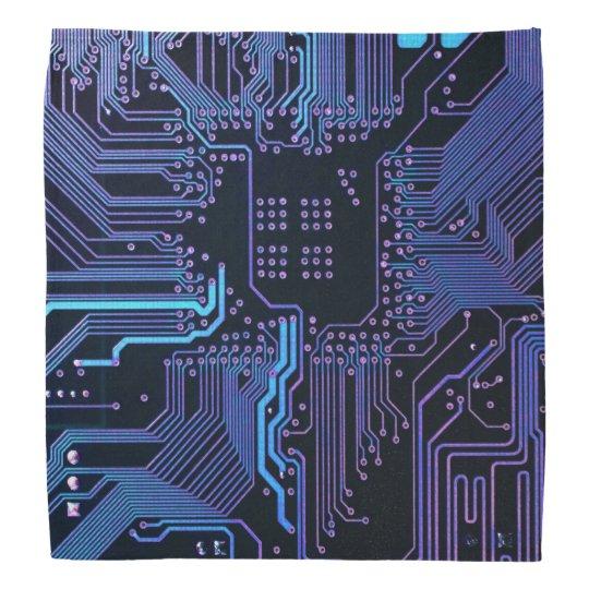 Cool Blue Computer Circuit Board Bandanna