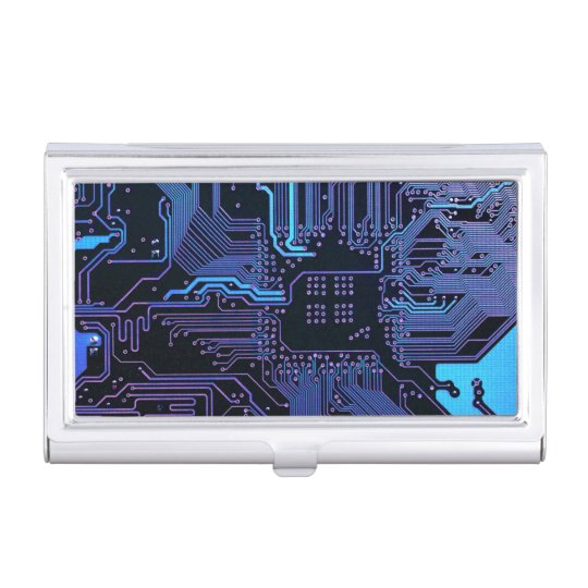 Cool Blue Computer Circuit Board card holder Business