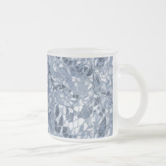 Cool blue cracked ice frosted glass coffee mug