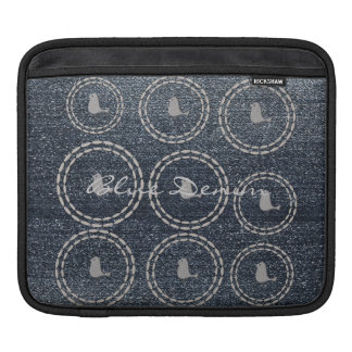 Cool Blue Denim Look Silver Bird iPad Sleeve