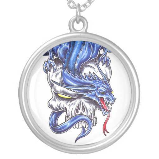 Cool Blue Dragon on Skull tattoo  necklace