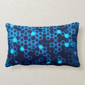 Cool Blue Electronic Circuit Board Hexagon Pattern Lumbar Cushion