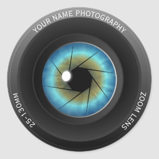 Cool Blue Eye Camera Lens Custom Name Photographer Classic Round Sticker