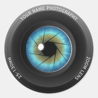 Cool Blue Eye Camera Lens Custom Name Photographer Round Sticker