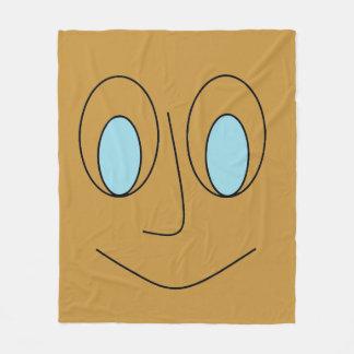 Cool Blue Eyed Smiling Face Fleece Blanket