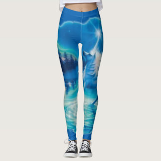 Cool Blue Fantasy Unicorn Airbrush Art Leggings