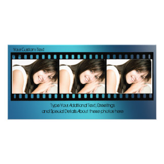 Cool Blue Filmstrip Photo Card, All-Occasion Customised Photo Card
