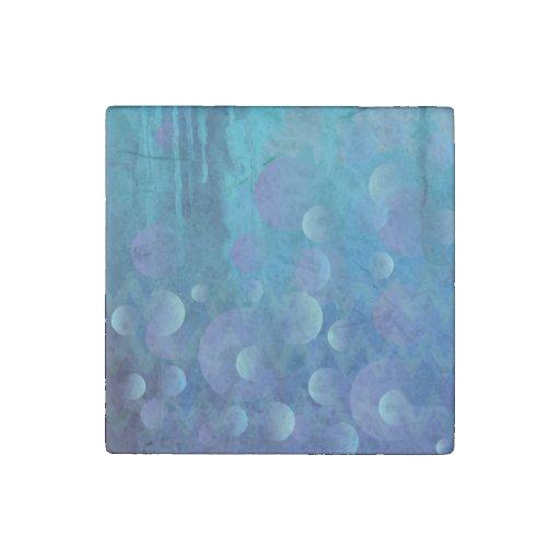 Cool Blue Funky Geometric Grunge Pattern Stone Magnet