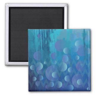 Cool Blue Funky Geometric Grunge Pattern Fridge Magnets