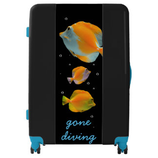 Cool Blue Gone Diving Snorkeling Sea Coral fish Luggage