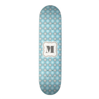 Cool Blue & Gray Checkers w/Monogram Skateboard Deck
