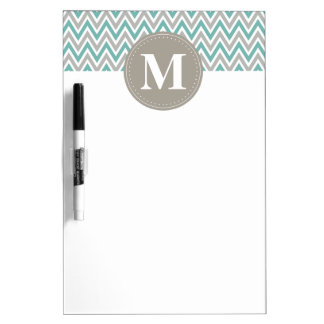 Cool Blue Gray Chevron Pattern Monogram Dry Erase Board