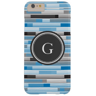 Cool blue grey black stripes Custom Monogram Barely There iPhone 6 Plus Case